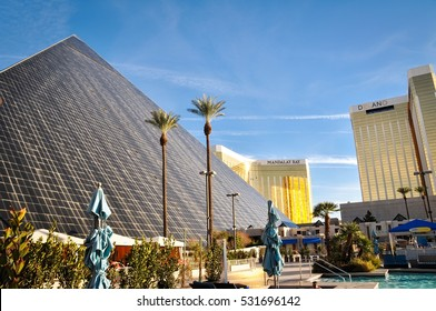 LAS VEGAS - JANUARY 21, 2016: Luxor Las Vegas the Mandalay Bay Resort and Casino and the Delano on January 21, 2016 in Las Vegas. Luxor opened in 1993, Delano opened in 2003.