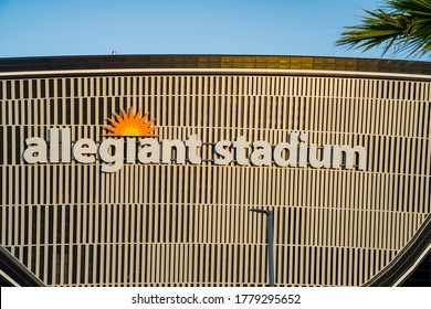 Las Vegas, JUL 17, 2020 - Sunset view of the finished Allegiant Stadium