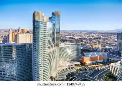 LAS VEGAS - JULY 03, 2017 : Aerial view on the hotels on the strip at July 4, 2017 in Las Vegas. The Las Vegas Strip is a popular place in Clark County, Nevada.