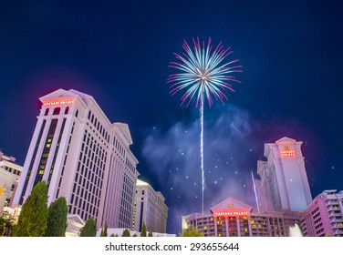 LAS VEGAS - JULY 04 : The Caesars Palace fireworks show as part of the 4th of July celebration in Las Vegas on July 04 2015