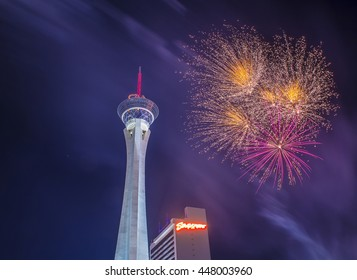 LAS VEGAS - JULY 04 : The Stratosphere tower fireworks show as part of the 4th of July celebration in Las Vegas on July 04 2016