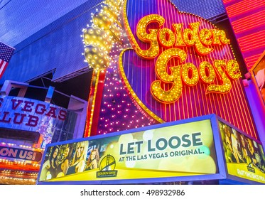 LAS VEGAS - JULY 04:The golden goose sign at the Fremont Street Experience on July 04 2016 in Las Vegas Nevada. The Fremont Street Experience is a pedestrian mall and attraction in downtown Las Vegas