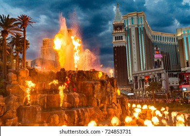 LAS VEGAS -July 13 : The Mirage Hotel artificial Volcano Eruption show in Las Vegas on July 13 2017 ,The hotel Opened in 1989 and it has 100,000 square feet of gaming space.