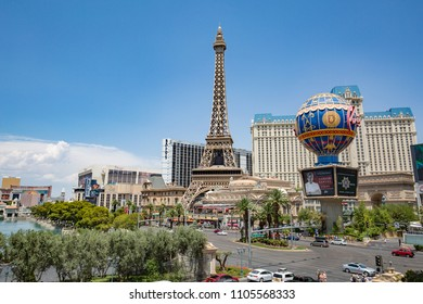 LAS VEGAS - JULY 13 : The Paris hotel in Las Vegas, Nevada on July 13 , 2017. The hotel includes a half scale, 541-foot (165 m) tall replica of the Eiffel Tower.