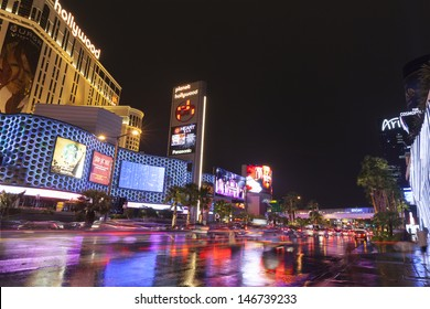 LAS VEGAS - JULY 19,  - Vegas Strip on July 19, 2013 in Las Vegas. The lights of the Vegas strip create beautiful reflections in the street after a storm passes through.