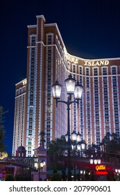 LAS VEGAS - JULY 21 : Treasure Island hotel and casino on July 21 2014 in Las Vegas.  This Caribbean themed resort has an hotel with 2,884 rooms.