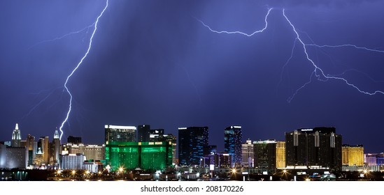 LAS VEGAS - JULY 27: Lightning from monsoonal storms streaks through the sky over the Las Vegas Strip on July 27, 2014.