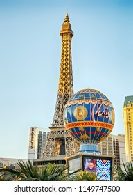 LAS VEGAS, July 3, 2017: Eiffel Tower replica of Paris Las Vegas Resort in Las Vegas Nevada, USA on July 3, 2017