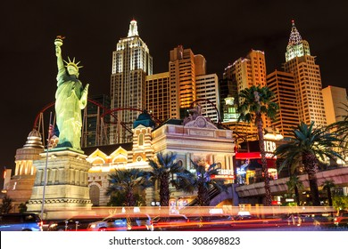 LAS VEGAS - JULY 8 2015: New York-New York located on the Las Vegas Strip is shown in Las Vegas. Replica of the Statue of Liberty is 150 ft (46 m) and the property opened in 1997.