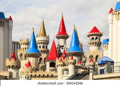 LAS VEGAS - JUN 8 2015: The Excalibur hotel and Casino is shown in Las Vegas, Nevada. The Excalibur opened on June 19, 1990 reported strong net revenue gain of $2.23 billion in third quarter 2011