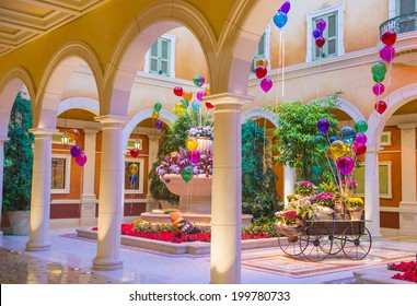 LAS VEGAS - JUNE 15 : The Bellagio hotel loby on June 15 2014 in Las Vegas. Bellagio is a luxury hotel and casino located on the Las Vegas Strip. The Bellagio opened on 1998.