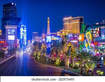 LAS VEGAS - JUNE 15 : View of the strip on June 15 , 2014 in Las Vegas. The Las Vegas Strip is an approximately 4.2-mile (6.8 km) stretch of Las Vegas Boulevard in Clark County, Nevada.