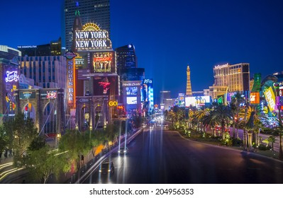 LAS VEGAS - JUNE 15 : View of the strip on June 15 , 2014 in Las Vegas. The Las Vegas Strip is an approximately 4.2-mile (6.8 km) stretch of Las Vegas Boulevard in Clark County, Nevada.