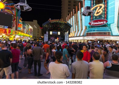 LAS VEGAS - JUNE 21, 2013 - Fremont street, June 21, 2013  in Las Vegas. Nevada Casino's posted $854 Million in revenues for the month of April 2013.