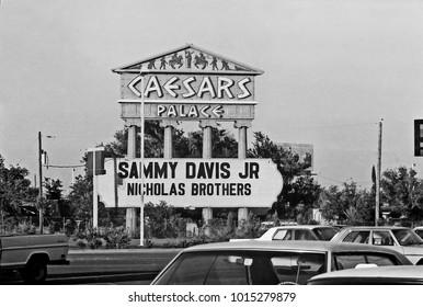 LAS VEGAS – JUNE22, 1979: Caesars palace logo in Las Vegas. Vintage picture taken in 1979.