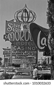 LAS VEGAS – JUNE22, 1979: logos in Las Vegas Boulevard. Vintage picture taken in 1979.
