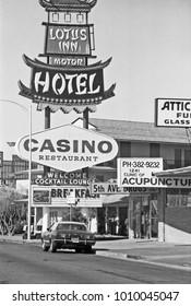LAS VEGAS – JUNE22, 1979: Lotus inn Motel and Casino restaurant logo in Las Vegas Boulevard. Vintage picture taken in 1979.