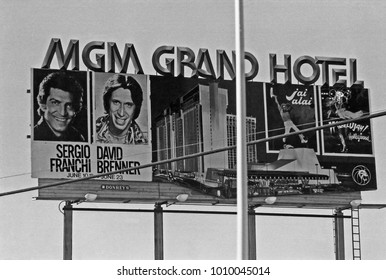 LAS VEGAS – JUNE22, 1979: MGM grand hotel logo in Las Vegas. Vintage picture taken in 1979.