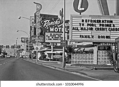 LAS VEGAS – JUNE22, 1979: Rancho Anita Motel  logo in Las Vegas Boulevard. Vintage picture taken in 1979.