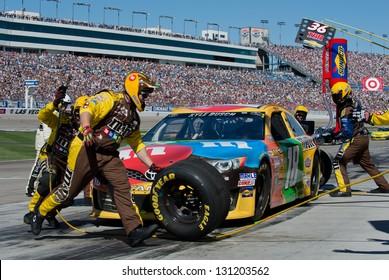 LAS VEGAS - MAR 10: Kyle Busch in for a pit stop at the Nascar Kobalt 400 in Las Vegas, NV on Mar 10, 2013