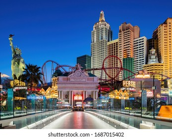Las Vegas, MAR 25, 2020 - Dusk special lockdown cityscape of the famous Strip and New York New York Hotel & Casino