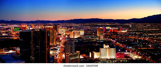 LAS VEGAS - MAR 4: City skyline panorama after sunset marking the start of the fabulous night life of the city, March 4, 2010 in Las Vegas, Nevada.
