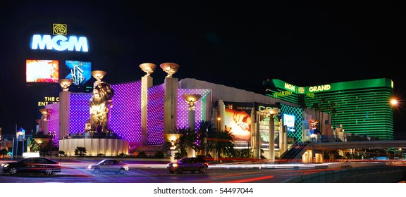 LAS VEGAS - MAR 4: MGM Grand Hotel, the second largest hotel in the world and second largest hotel resort complex in the United States, panorama at night on March 4, 2010 in Las Vegas, Nevada.
