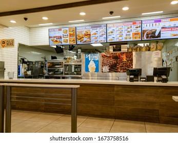 Las Vegas, MAR 8, 2020 - Interior view of the Burger King fast food restaurant