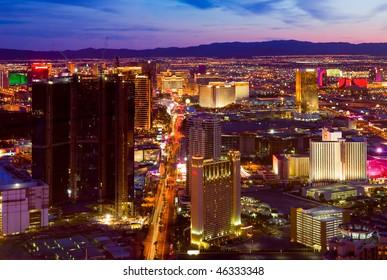 LAS VEGAS - MARCH 31: An aerial view of Las Vegas strip on March 31, 2009 in Las Vegas. The strip is approximately  4.2 mi (6.8 km) long.
