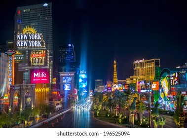 LAS VEGAS - MAY 12 : View of the strip on May 12 , 2014 in Las Vegas. The Las Vegas Strip is an approximately 4.2-mile (6.8 km) stretch of Las Vegas Boulevard in Clark County, Nevada.