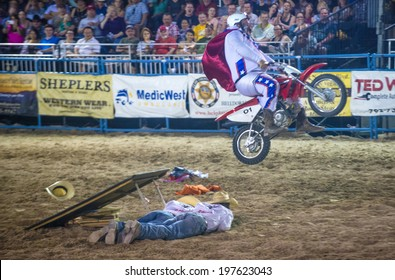 LAS VEGAS - MAY 16 : Rodeo Clown performing in the Helldorado days Rodeo , A professional Rodeo held in Las Vegas , Nevada on May 16 2014