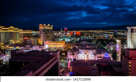 LAS VEGAS - MAY 17: City skyline after sunset marks the start of the fabulous night life in the so-call City of Sin.  This is the view from Harrah's Hotel Casino. May 17, 2019 in Las Vegas, Nevada.