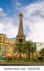 LAS VEGAS -  MAY 2: View of replica of the Eiffel Tower and classic French architecture fronts the Paris Hotel and Casino on the Strip on  May 2, 2007 in Las Vegas. This Design Hotel has since 1920.