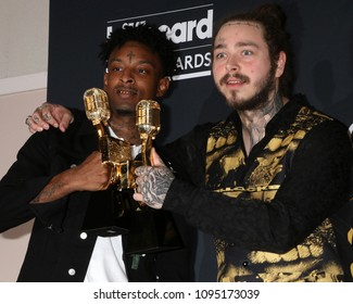 LAS VEGAS - MAY 20:  21 Savage, Post Malon at the 2018 Billboard Music Awards at MGM Grand Garden Arena on May 20, 2018 in Las Vegas, NV