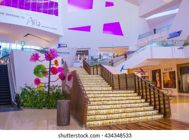 LAS VEGAS - MAY 21 : The Crystals mall in Las Vegas strip on May 21 , 2016. Crystals offers 500,000 sq ft of retail space, including gourmet restaurants, shops and galleries.
