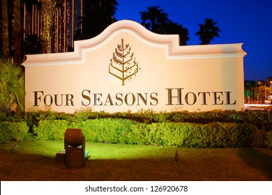 LAS VEGAS - MAY 23: The Four Seasons Hotel sign on May 23, 2012 in Las Vegas, Nevada.  The Four Seasons operates on the top floors of THEhotel building and opened in 1999.