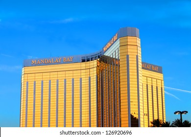 LAS VEGAS - MAY 23: The Mandalay Bay Resort and Casino on May 23, 2012 in Las Vegas.  Mandalay Bay opened in 1999, and seen here is the gold colored exterior of the 44-story tall main building.