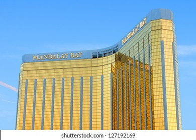 LAS VEGAS - MAY 23: The Mandalay Bay Resort and Casino on May 23, 2012 in Las Vegas.  Mandalay Bay opened in 1999 and seen here is the gold colored exterior of the 44-story tall main building.