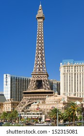 LAS VEGAS - MAY 24: Eiffel Tower on the Strip on May 24, 2013 in Las Vegas. This is the biggest copy of the Eiffel tower and its height is 170 meters