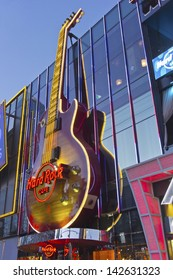 LAS VEGAS - MAY 28 2013:  Hard Rock Cafe an entertainment and touirsty place on the strip in Las Vegas nevada. May 28, 2013 in Las Vegas.