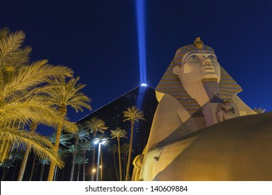LAS VEGAS - MAY 31, 2013 - Luxor Hotel on May 31, 2013  in Las Vegas, NV. The Luxor Sky Beam is the strongest beam of light in the world at 42.3 billion candela.