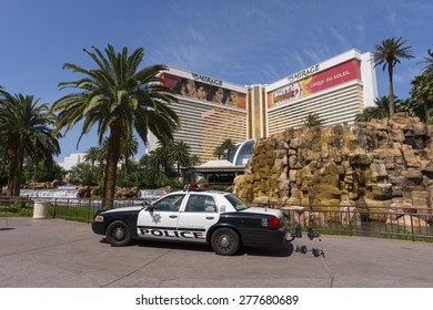 LAS VEGAS - MAY 7, 2015 - A metro Las Vegas police car sits on the sidewalk of the Mirage Hotel and casino making their presence known.