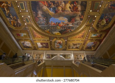 LAS VEGAS - MAY 7, 2015 - The artwork at the main entrance of the Venetian hotel is styled after the Sistine chapel.