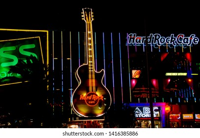 Las Vegas, Nevada, 09/24/2011 Huge neon guitar outside Hard Rock Cafe in Las Vegas at night