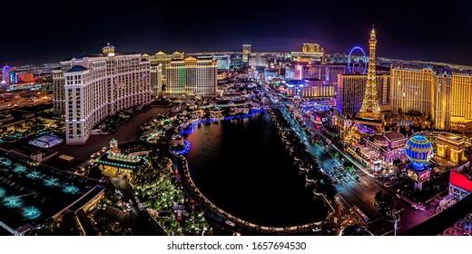 Las Vegas Nevada 2017 12 01 panoramic wide angle view of the Las Vegas Strip