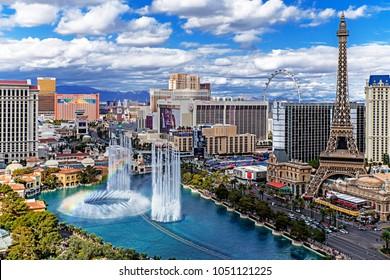 Las Vegas Nevada 2018 03 11 panoramic aerial view of the Las Vegas Strip.