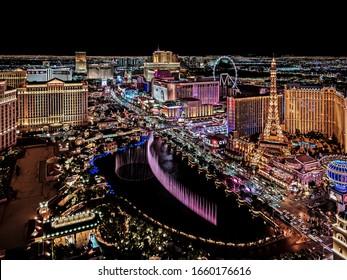 Las Vegas Nevada 2018 11 23 panoramic wide angle view of the Las Vegas Strip