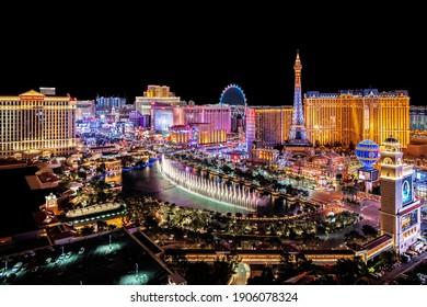 Las Vegas Nevada 2019 01 27 panoramic view of the Las Vegas Strip