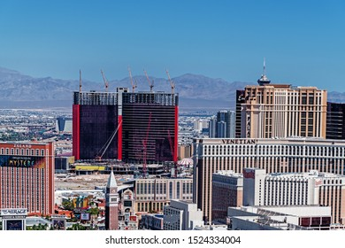 Las Vegas Nevada 2019 10 01 panoramic aerial view of the new Resorts World Las Vegas Hotel and Casino under construction.
