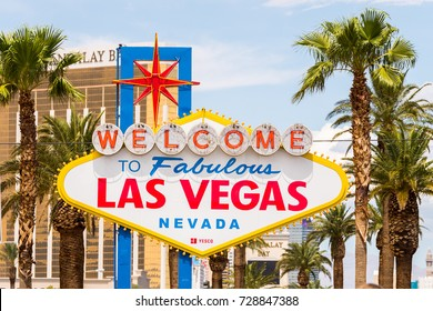 LAS VEGAS, NEVADA. 24th August, 2017: welcome to fabulous las vegas sign at city entrance
